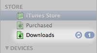 Picture of the iTunes player download text